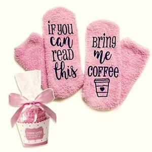Bring me coffee fuzzy cupcake socks!